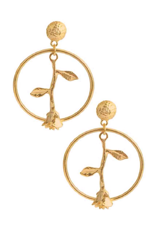 gold 'single rose' earrings