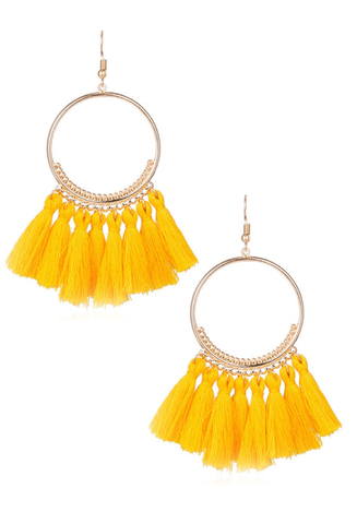 yellow 'tassle' earrings