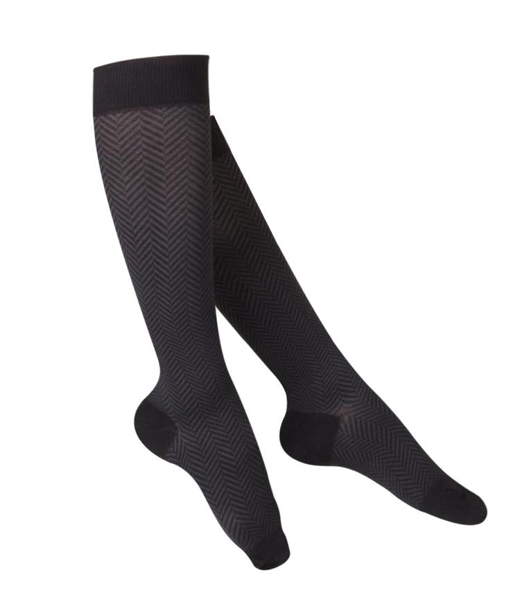 Ladies' TOUCH Chevron Pattern Compression Socks/15-20 mmHg, Black, 1061