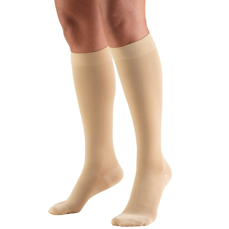 Truform Unisex Compression Knee High Stockings, 20-30 mmHg, Closed Toe, Beige, 8865