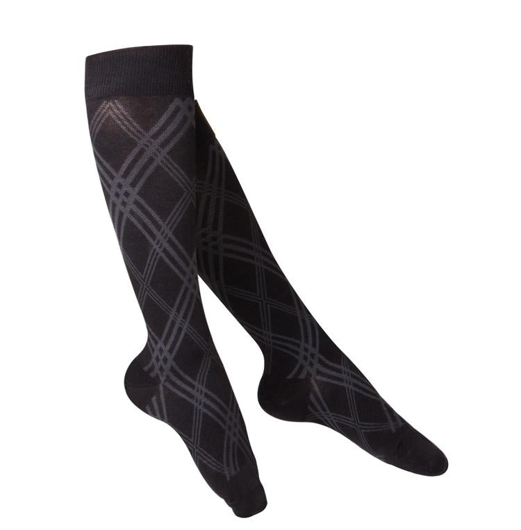Ladies' TOUCH Argyle Pattern Compression Socks / 15-20 mmHg, Black,1064