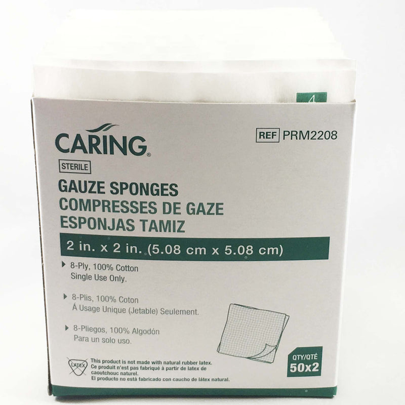 "Caring Gauze Pads (Sterile) 2"" X 2"""