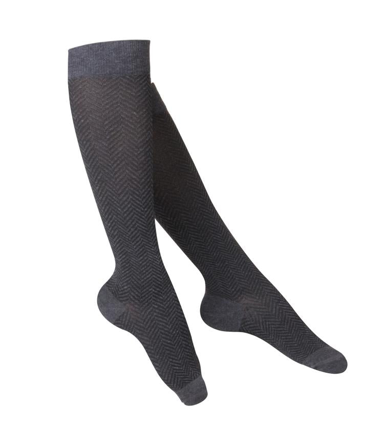 Ladies'  TOUCH Chevron Pattern Compression Socks/15-20 mmHg, Charcoal, 1061
