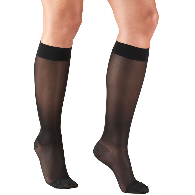 Women's Compression Knee High Stockings, 15-20 mmHg, Sheer Black, 1773