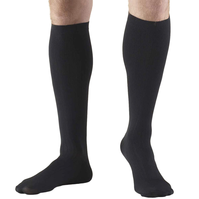 Men's Knee High Compression Socks, 8-15 mmHg, Dress Style, Black, 1942