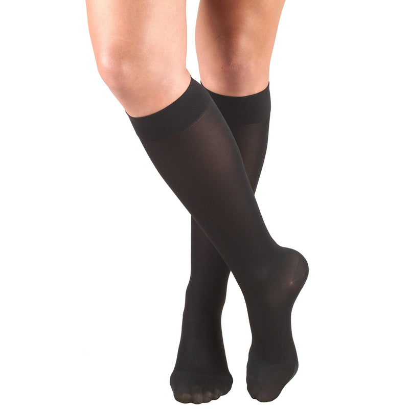 Women's OPAQUE Knee High Stockings, 15-20 mmHg, Closed Toe, Black, 0373