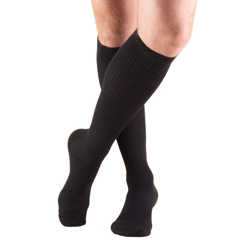 MEN'S KNEE HIGH CASUAL STYLE COMPRESSION SOCKS, 15-20 MMHG, Black, 1933