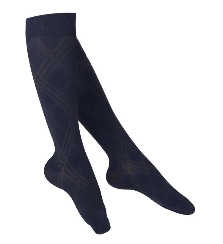 Ladies' TOUCH Argyle Pattern Compression Socks/ 15-20 mmHg,  Navy, 1064