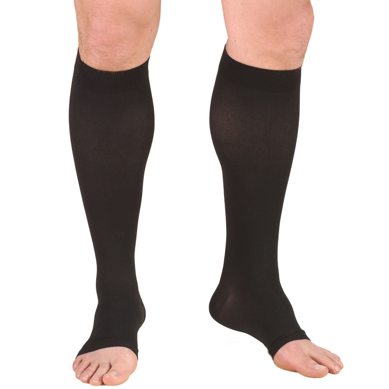TruForm Unisex Compression Knee High Stockings, 20-30 mmHg, Open Toe, Black, 0865