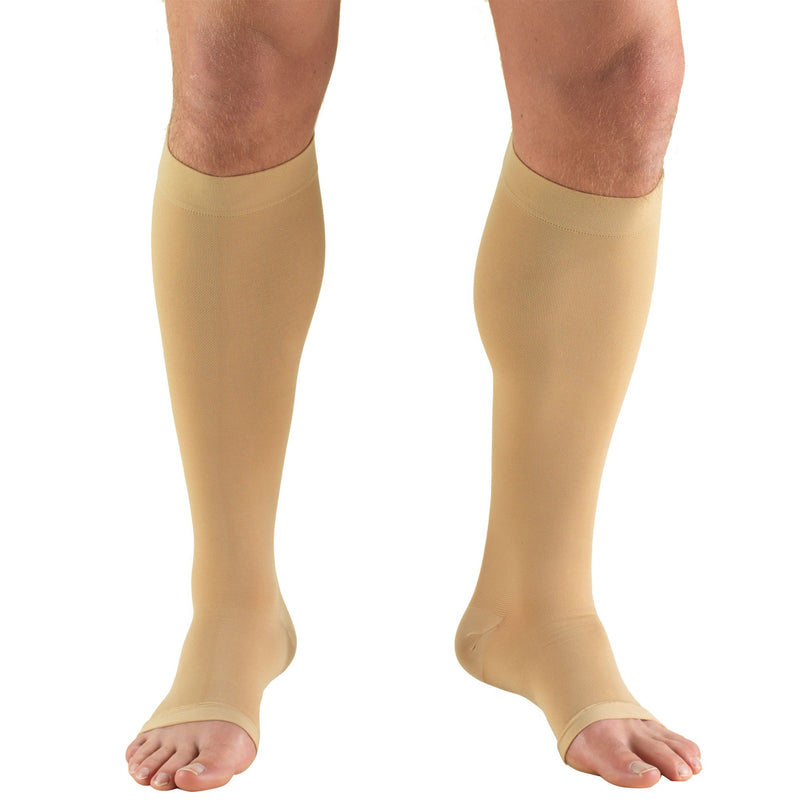 Truform Unisex Compression Stockings, 20-30 mmHg, Knee High, Open Toe, Beige, 0865