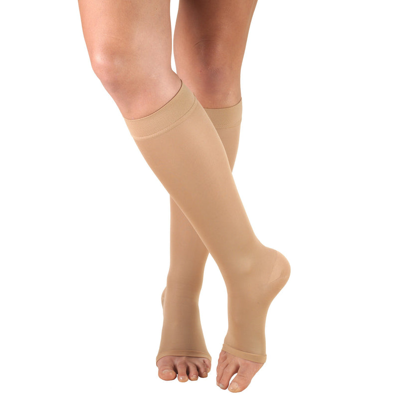 Women's OPAQUE Knee High Stockings, 20-30 mmHg, Open Toe, Beige, 0361