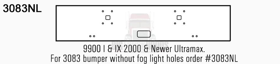 International 9900 I & IX Bumper Steel Chrome Without Foglights - Big Truck Hoods