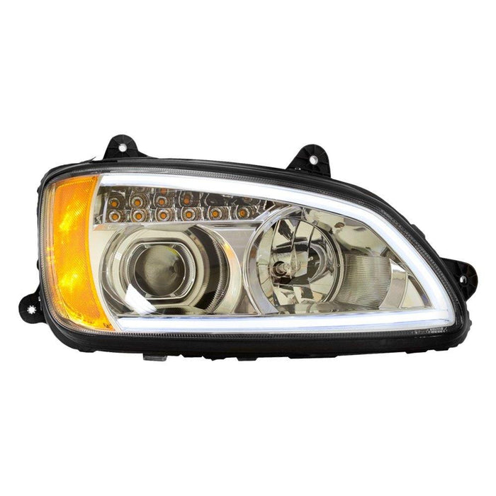 Kenworth T660 Headlight, Chrome Housing & Clear Projector, with LED Light Bar 2008 - UP - Big Truck Hoods