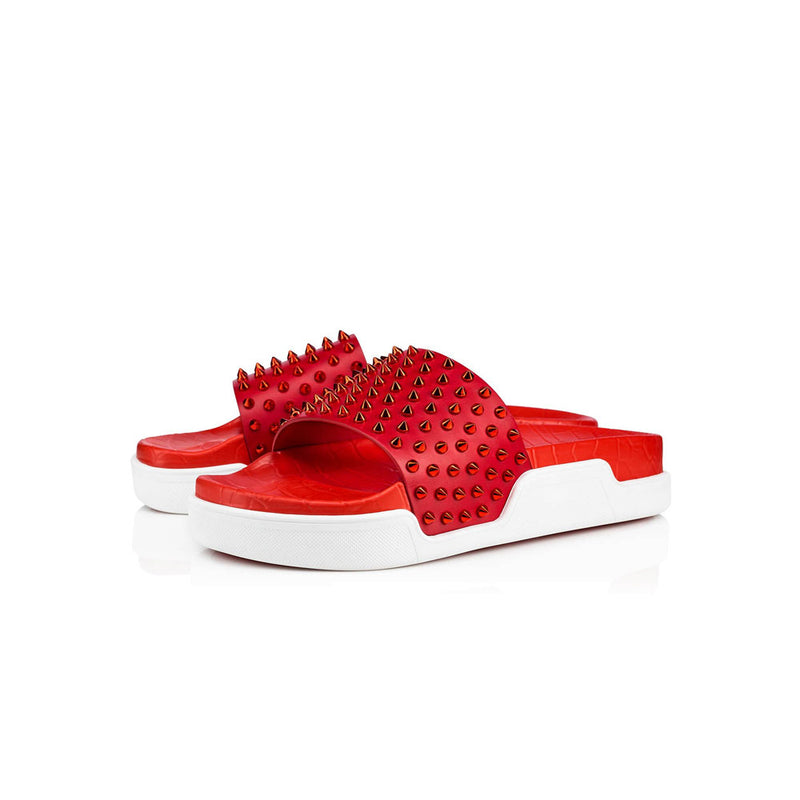 CHRISTIAN LOUBOUTIN - Red Spiked slider