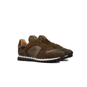 VALENTINO Sole Stud Runners • Khaki/Brown Camo