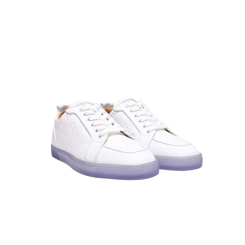 CHRISTIAN LOUBOUTIN - White/Purple embossed lettering