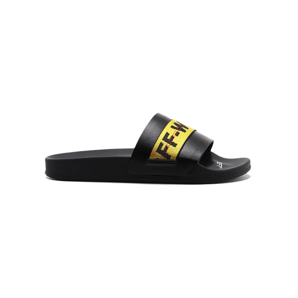 Off White industrial slides- black and yellow