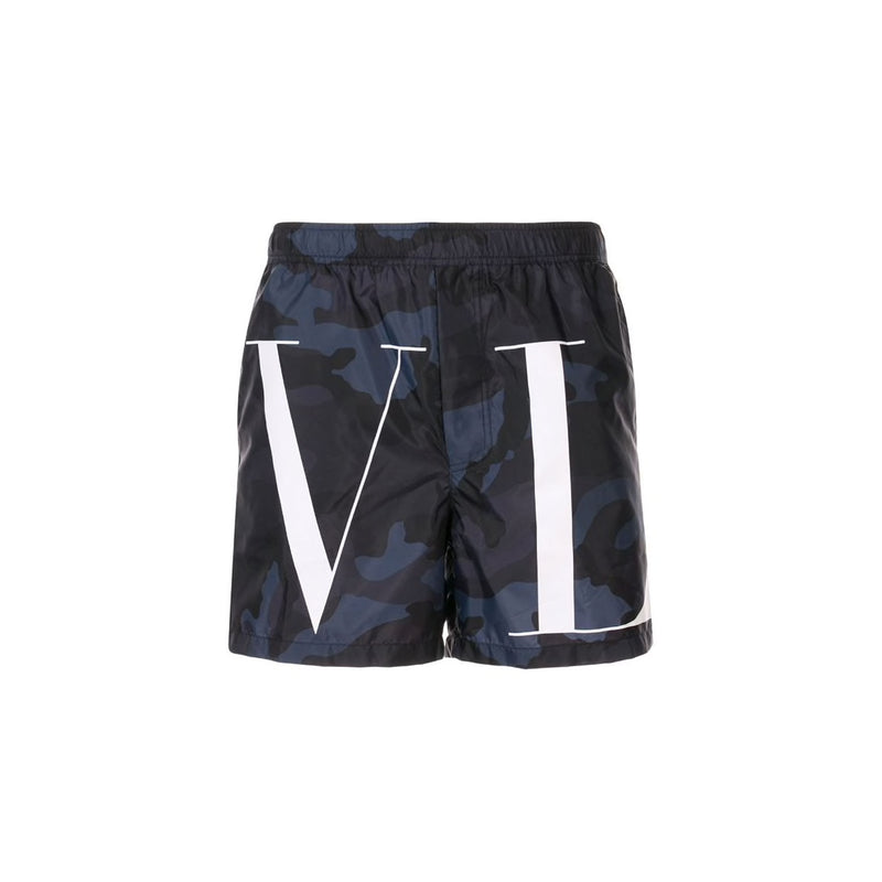 VALENTINO Camo VLTN Swim Short • Black Navy