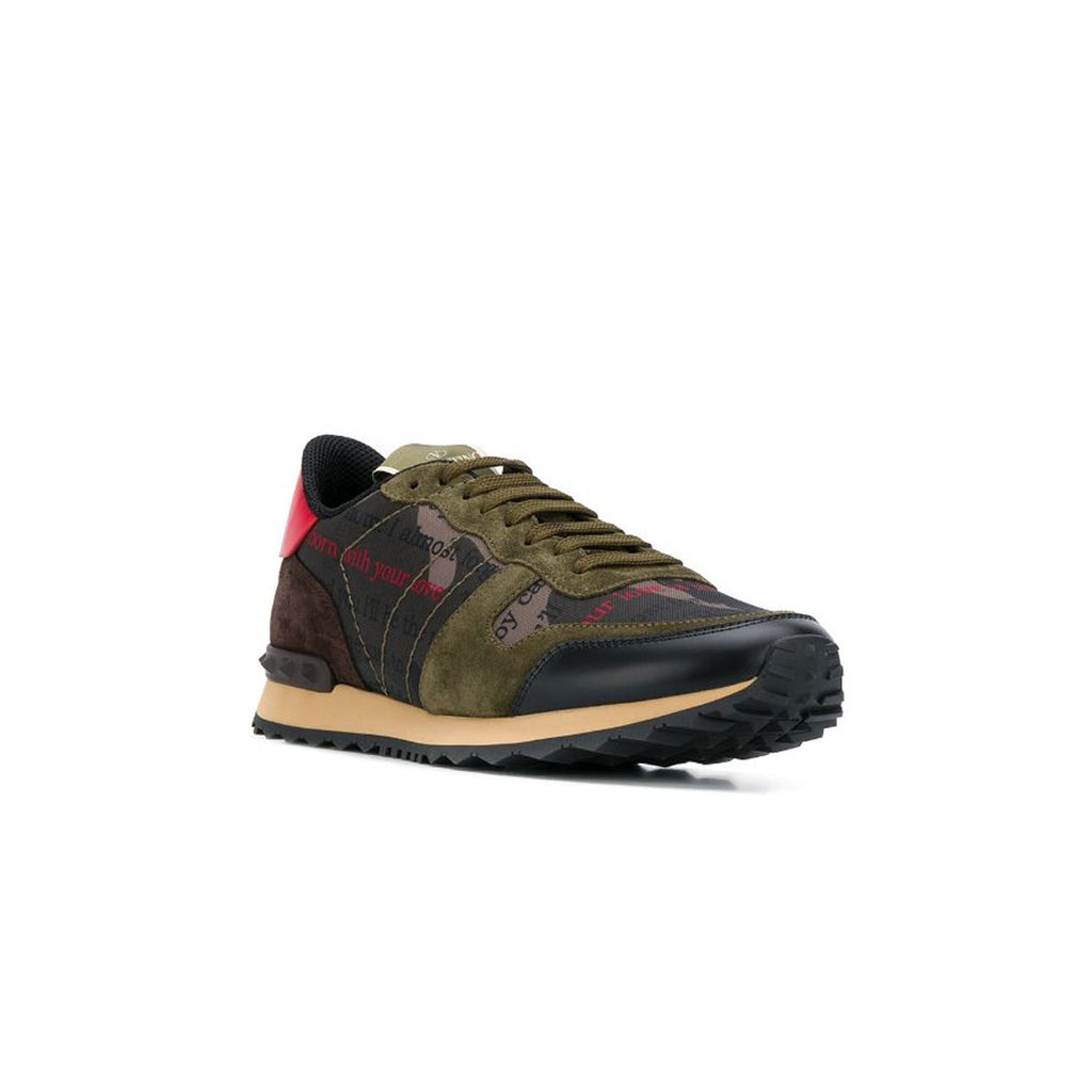 VALENTINO Rock Runners • Khaki writing **PRE-ORDER DISPATCHED WITHIN 2-5 DAYS**