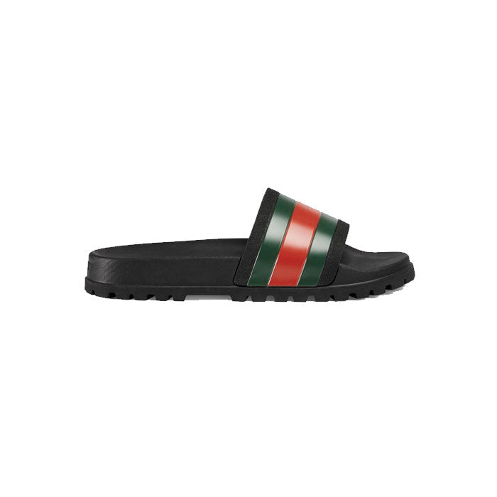 Gucci Pool Slides-Black/Green/Red