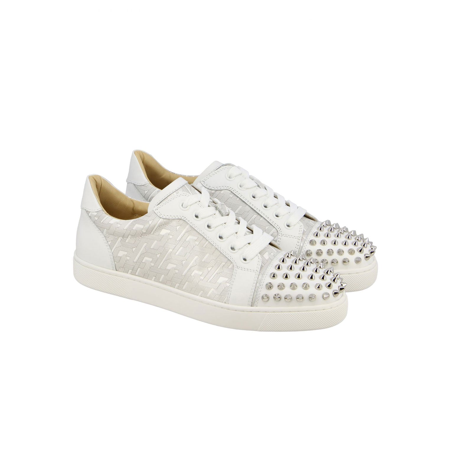 CHRISTIAN LOUBOUTIN low- white/grey silver spike women