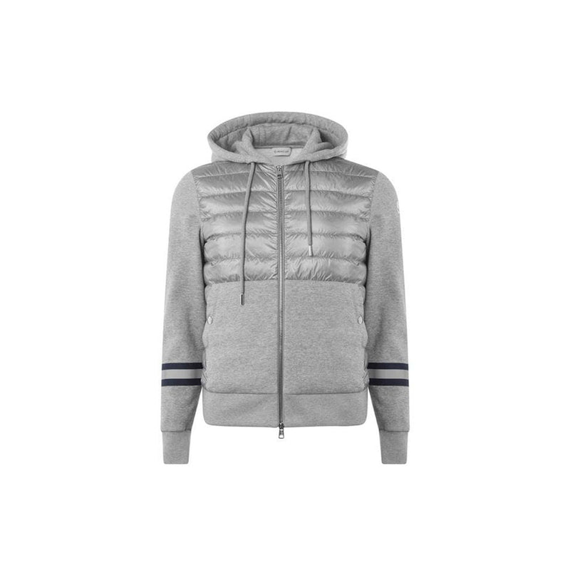 Moncler Hooded Jacket - Grey/Striped Sleeves