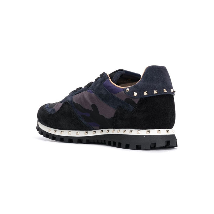 VALENTINO Sole Stud Runners • Navy/Grey Camo