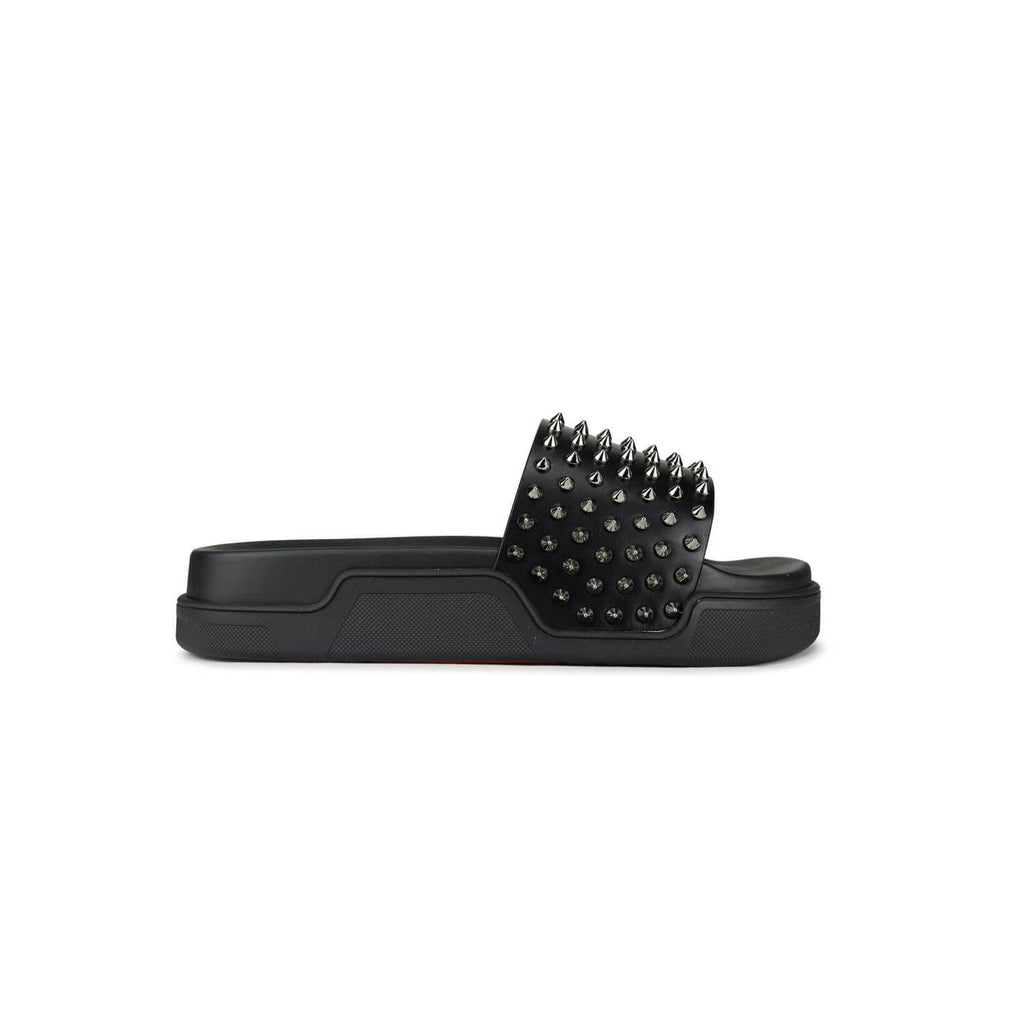 CHRISTIAN LOUBOUTIN - Black Spiked slider