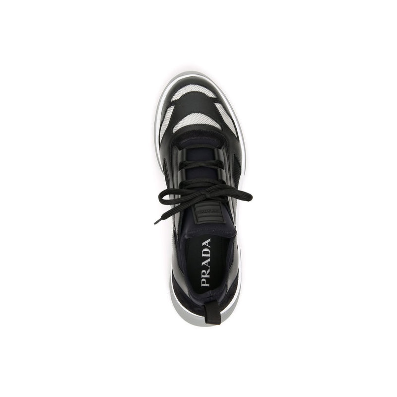 PRADA Twist Technical Trainers - Black white