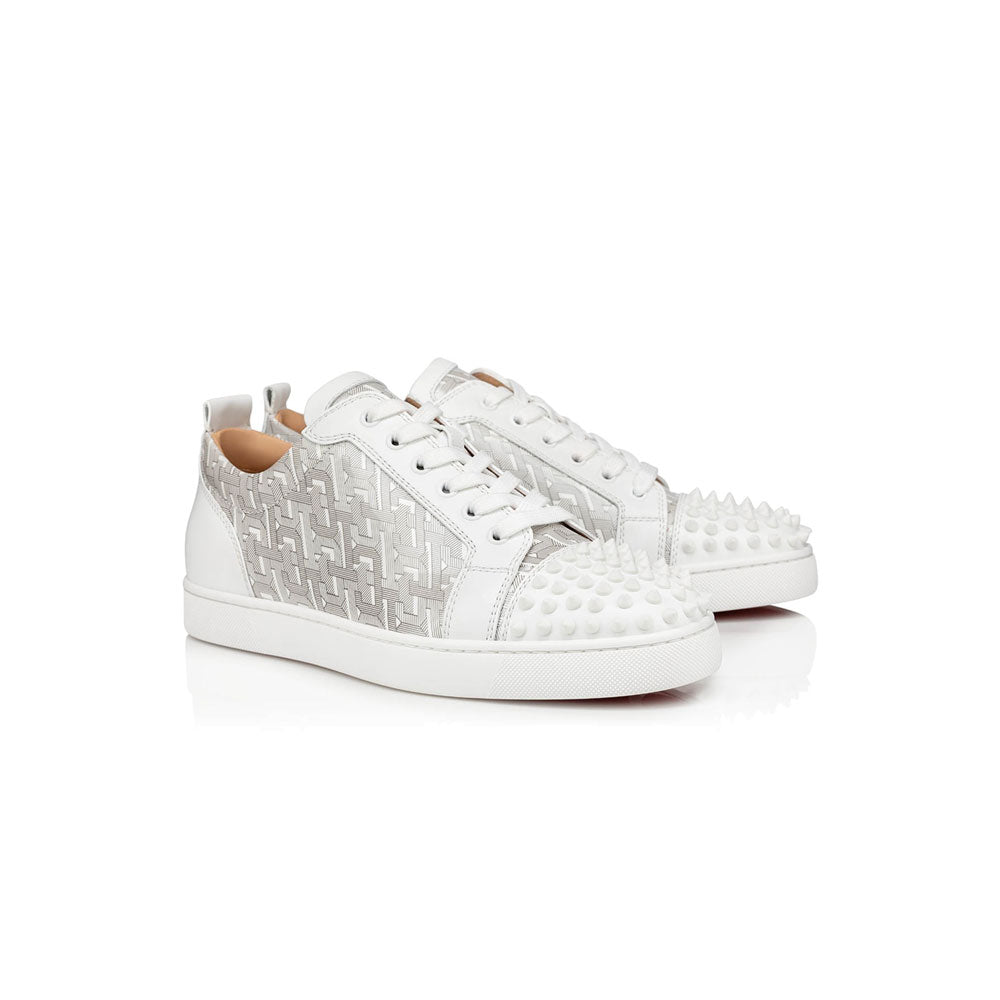 CHRISTIAN LOUBOUTIN - white grey spiked