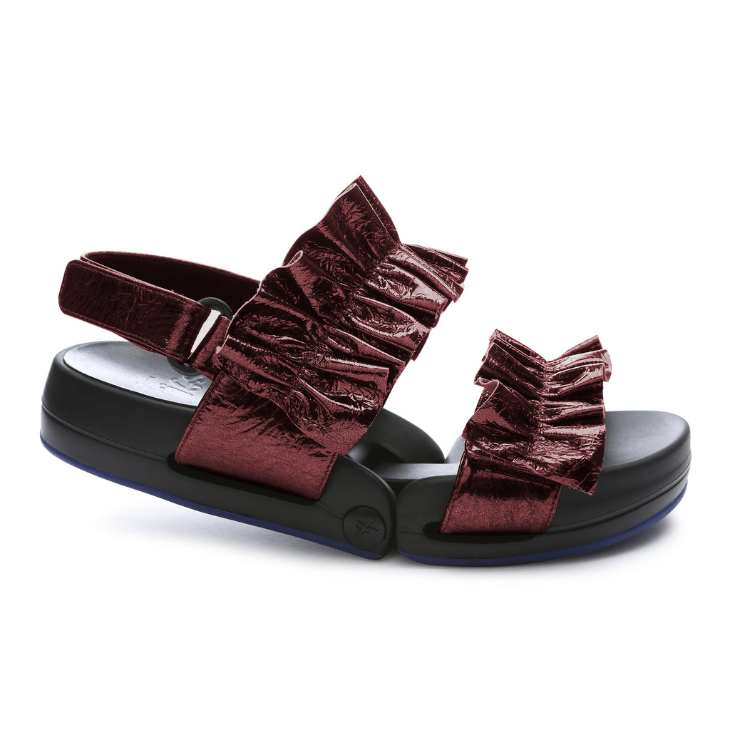 FIGULOUS RUFFLE <br /><font size=-0.75>Bordeaux Metallic Leather</font>