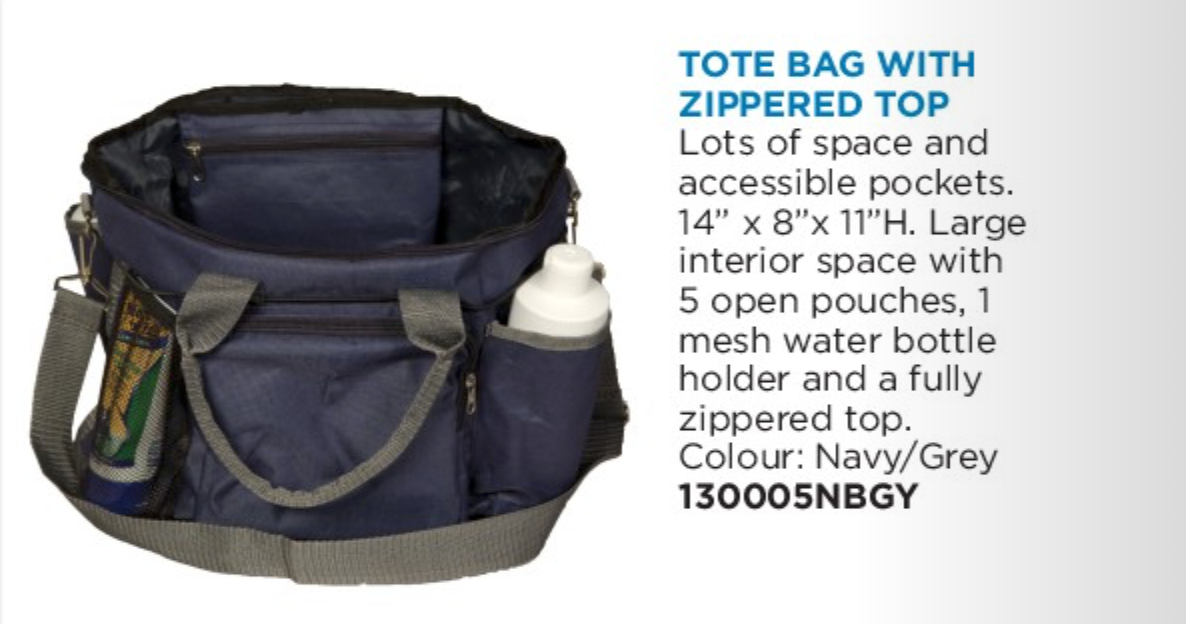 Tote Bag w Zippered Top Navy/Grey