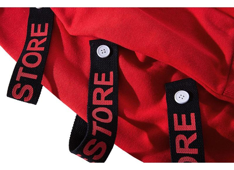 Hooded Hip Hop Street Pullover in black or red for $67.99
