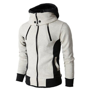Hoodie with zipper and wide collar - Mens Apparel - COSSTO