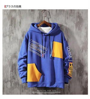Large Size patchwork Hoodie - Mens Apparel - COSSTO