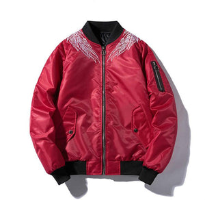 Men's autumn and spring bomber jacket with feather pattern in black or red - Mens Apparel - COSSTO