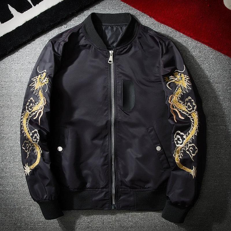 Men's autumn, spring black bomber jacket with bird and dragon pattern - Mens Apparel - COSSTO