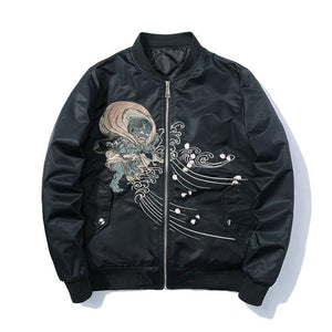 Men's autumn, spring black bomber jacket with pattern - Mens Apparel - COSSTO