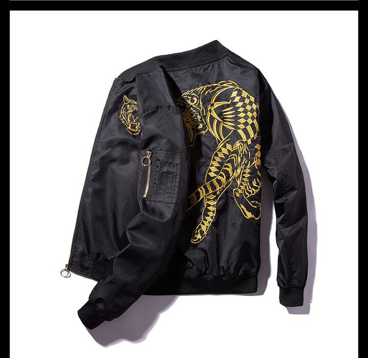Men's autumn, spring black bomber jacket with tiger pattern - Mens Apparel - COSSTO