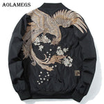 Men's autumn, spring bomber jacket with bird pattern in black or red - Mens Apparel - COSSTO