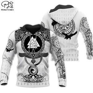 Men's black and white hoodie with a pattern Viking Warrior Tattoo for $60.15