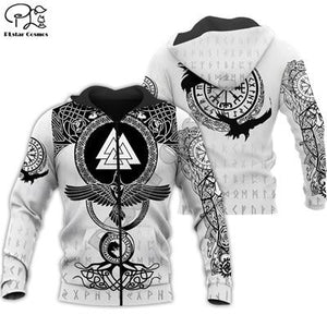 Men's black and white hoodie with a pattern Viking Warrior Tattoo for $62.67