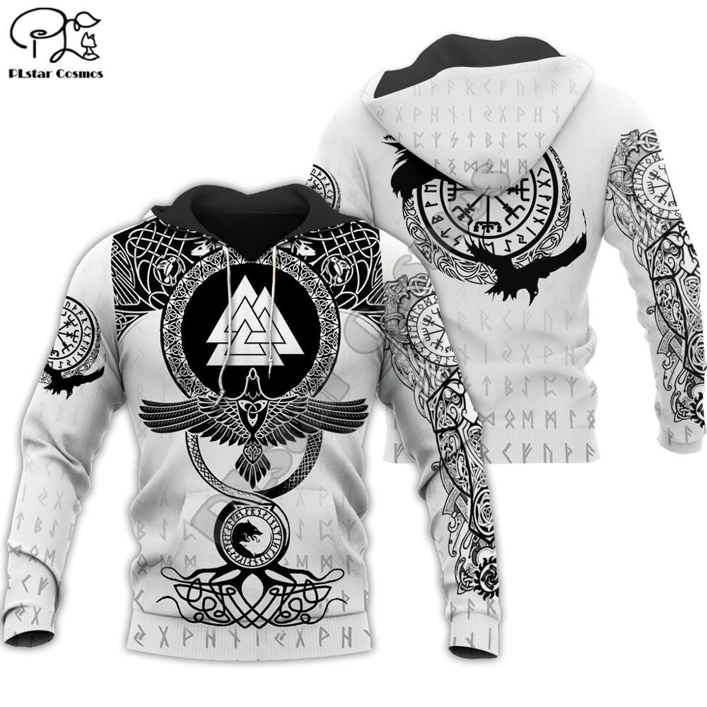 Men's black and white hoodie with a pattern Viking Warrior Tattoo for $45.11