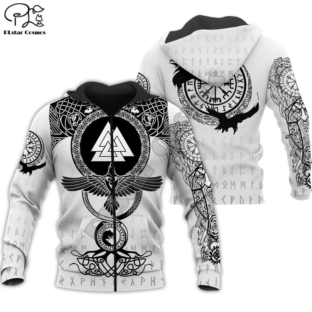Men's black and white hoodie with a pattern Viking Warrior Tattoo for $45.95