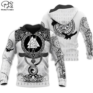 Men's black and white hoodie with a pattern Viking Warrior Tattoo - Mens Apparel - COSSTO