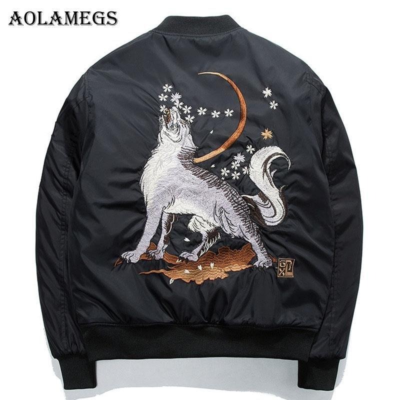 Men's black autumn, spring bomber jacket with wolf pattern - Mens Apparel - COSSTO
