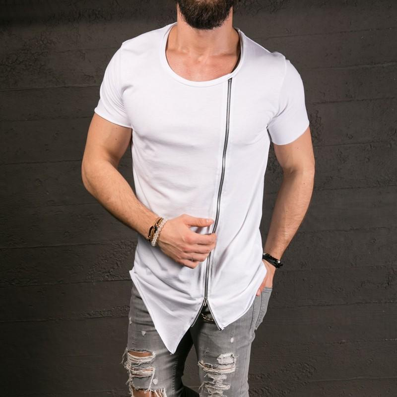 Men's elongated t-shirt with zipper in black or white - Mens Apparel - COSSTO