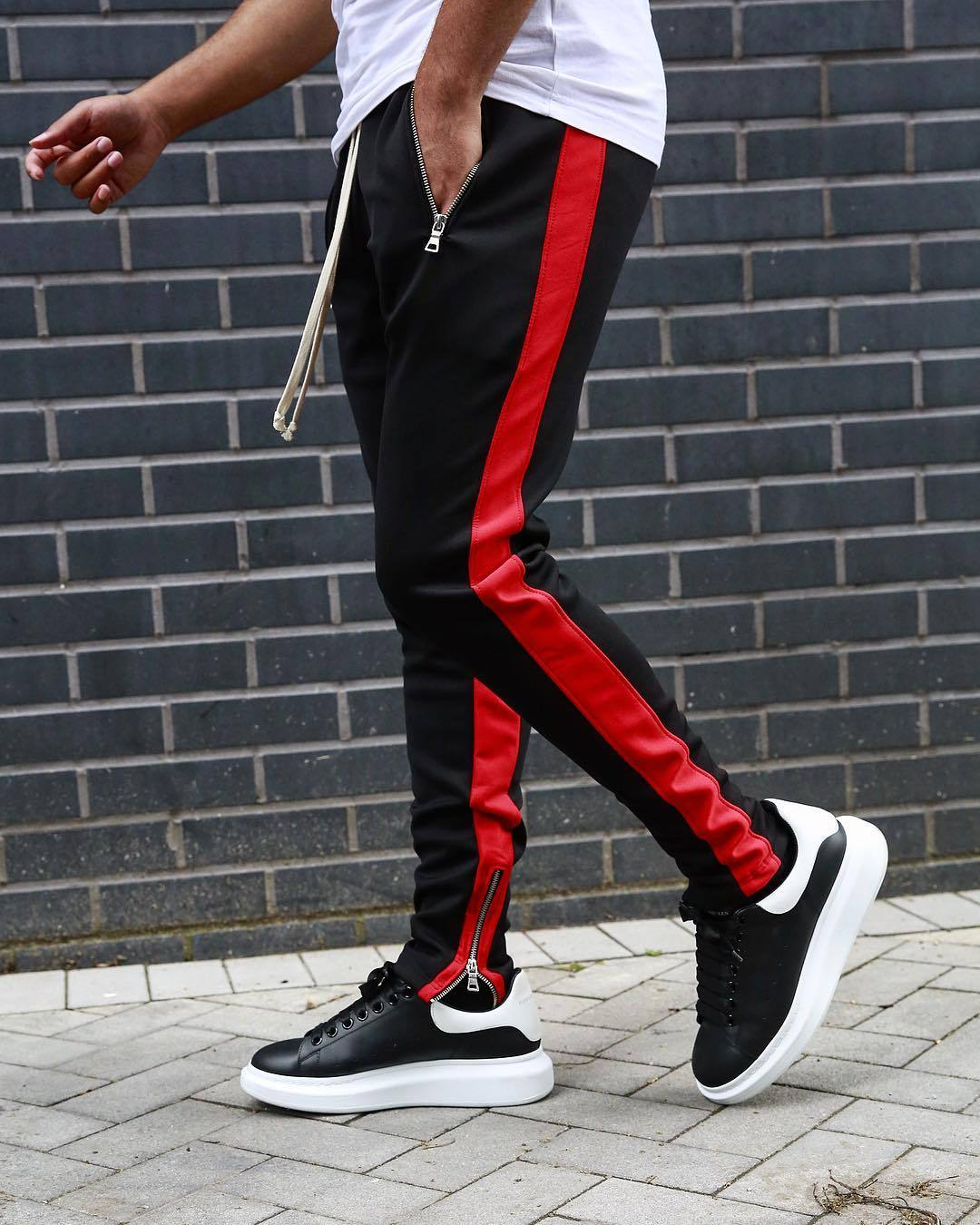 Mens Skinny Sport Pants with stripes - Mens Apparel - COSSTO