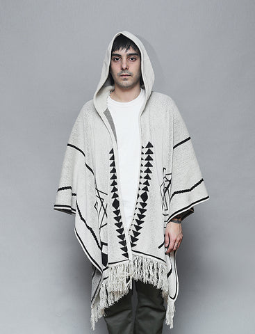 Poncho Reptilectric Blanco con Hoodie