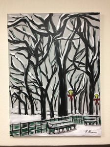 Central Park in the Snow Original Painting